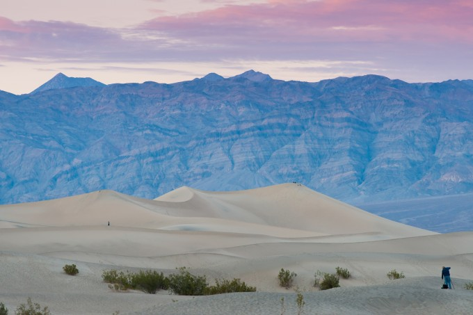 Sunset at dunes in Death Valley