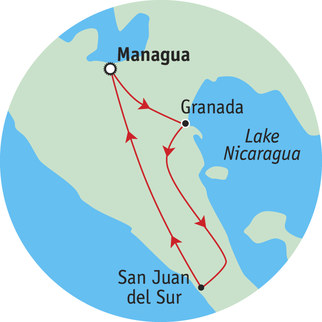 Adventure travel map of Nicaragua