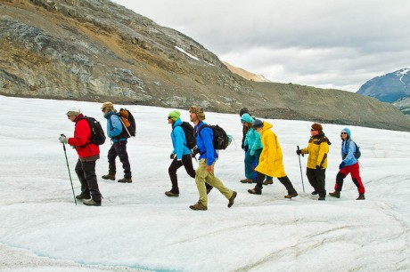 hiking across Athabasca Glacier