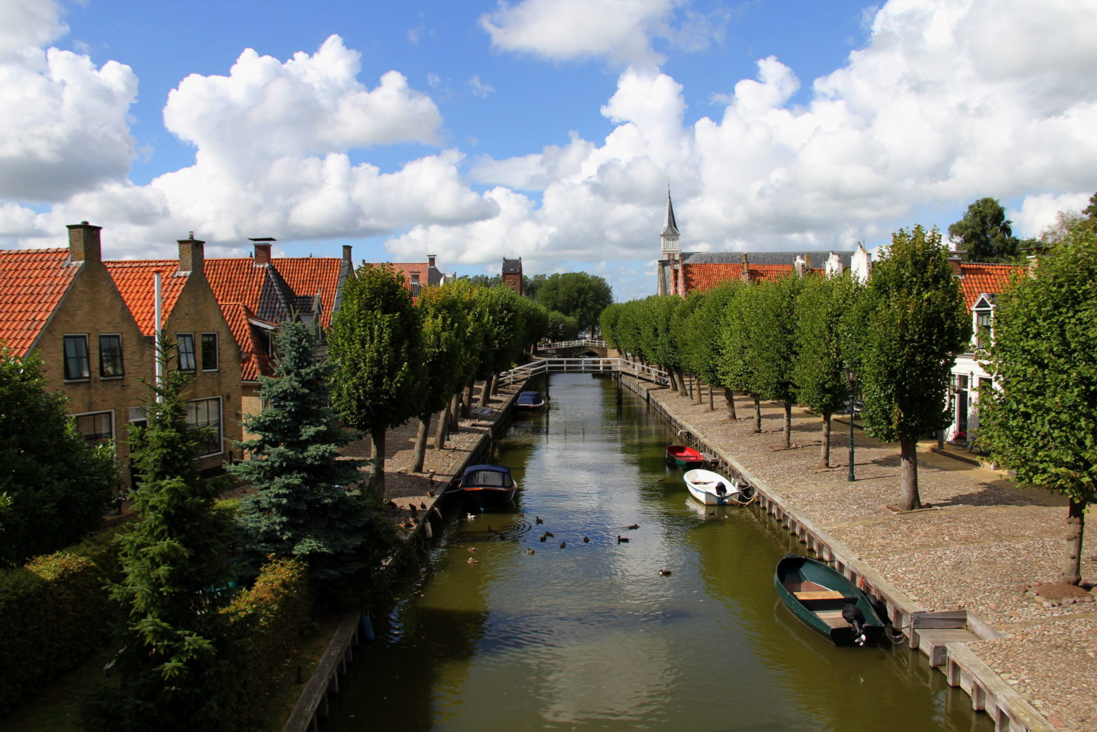 Canal in Holland with boats