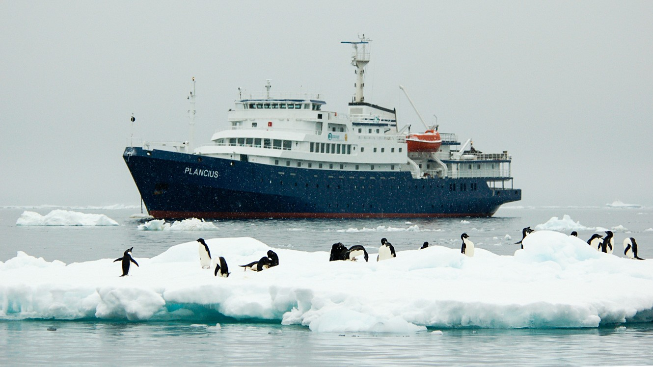 Antarctica cruise ship behind iceberg full of penguins