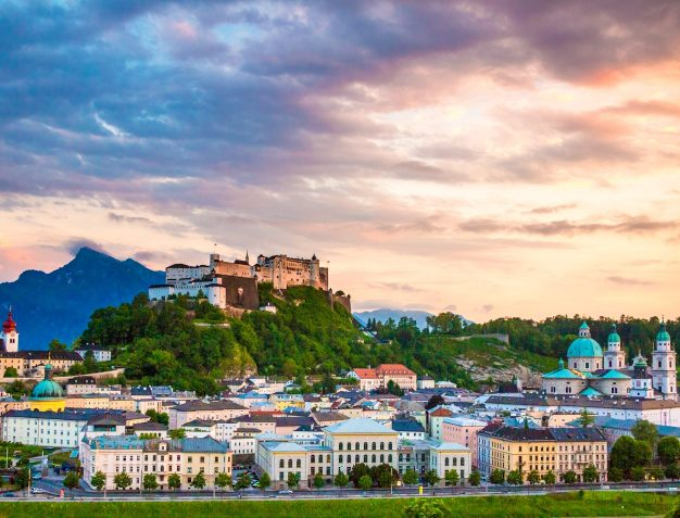 A sunset on Salzburg Austria and its downtown area