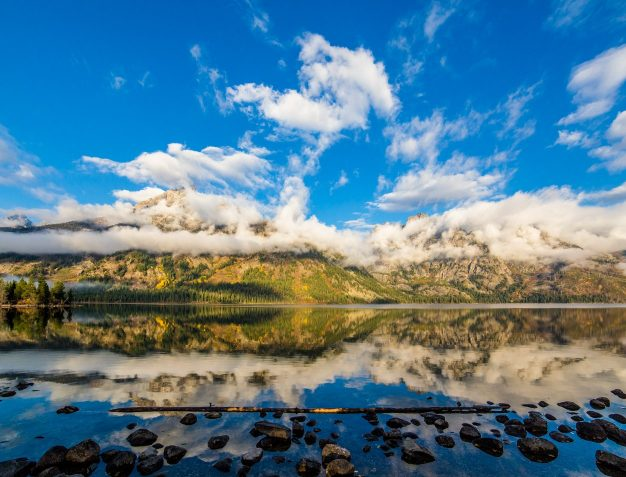 A beautiful view of the Tetons and Jenny Lake in Grand Teton National Park